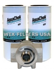 WIX FILTERS ACK40 Absorber AquaChek Water Removal Kit - contains: Mounting Base with 2 inlet + outlet, Two AquaChek Spin-on Filters (Part # AC30), Teflon tape. This kit takes two AC30 spin-ons.